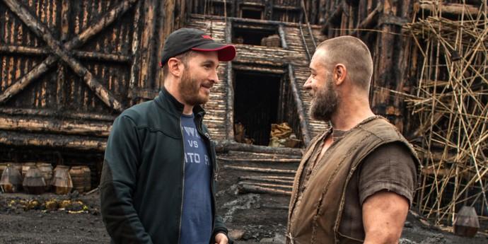Russel Crowe e o diretor Darren Aronofsky