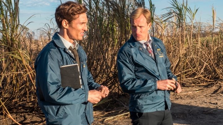 "SCENE 1.9 / Exterior Sugarcane Field - Crime Scene (1995) -Cohle theorizes about suspects; Marty invites him for dinner. / Photo: Jim Bridges/HBO HBO's ""True Detective"" Season 1  Director: Cary Fukunaga Matthew McConaughey: Rustin Cohle Woody Harrelson:  Martin Hart"