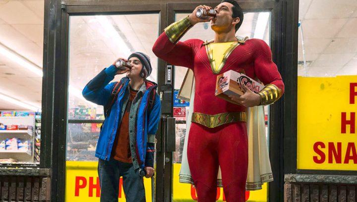 SHAZAM! (L-r) JACK DYLAN GRAZER as Freddy Freeman and ZACHARY LEVI as Shazam